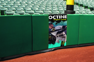 Baseball home run foul pole with copy space.